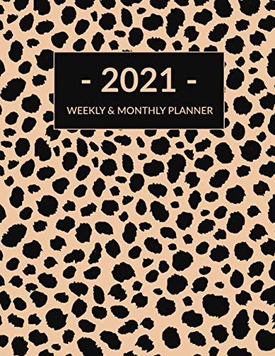 2021 Weekly & Monthly Planner: Cheetah Leopard Print Planner, Calendar, Organizer, January 2021 to December 2021, Agenda