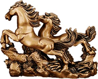 Feng Shui Resin Double Running Horse Statue Symbol Success Home Office Decor(Bronze)