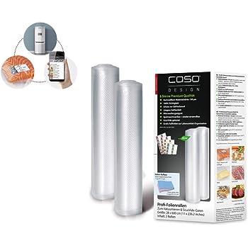 CASO Profi- Folienrollen 28x600cm/2 Rollen, für alle Balken Vakuumierer, BPA-frei, sehr stark & reißfest ca. 150µm, kochfest, Sous Vide geeignet, wiederverwendbar, für Folienschweißgeräte geeignet