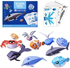TRAVER DREAM 3D Paper Art Craft,DIY Art Paper Kit 10-Pack,Foldable Paper Crafts,Toddler Crafts Art Toys,Paper Plate Craft Art kit,Perfect for Parent-Child Game,Groups,Classroom, Sea Animal Set