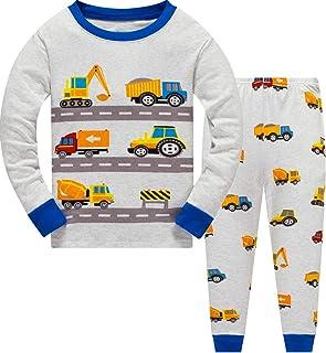 Boys Pajamas Truck 100% Cotton Glow in The Dark Dinosaur Pjs Toddler 2 Piece Sleepwear Kids Clothes Set 3t-10t