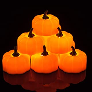 Homemory 24 Pack Small Pumpkin Tea Lights, Battery Operated LED Tealight Candles, Flilckering Amber Yellow Lights, Special...