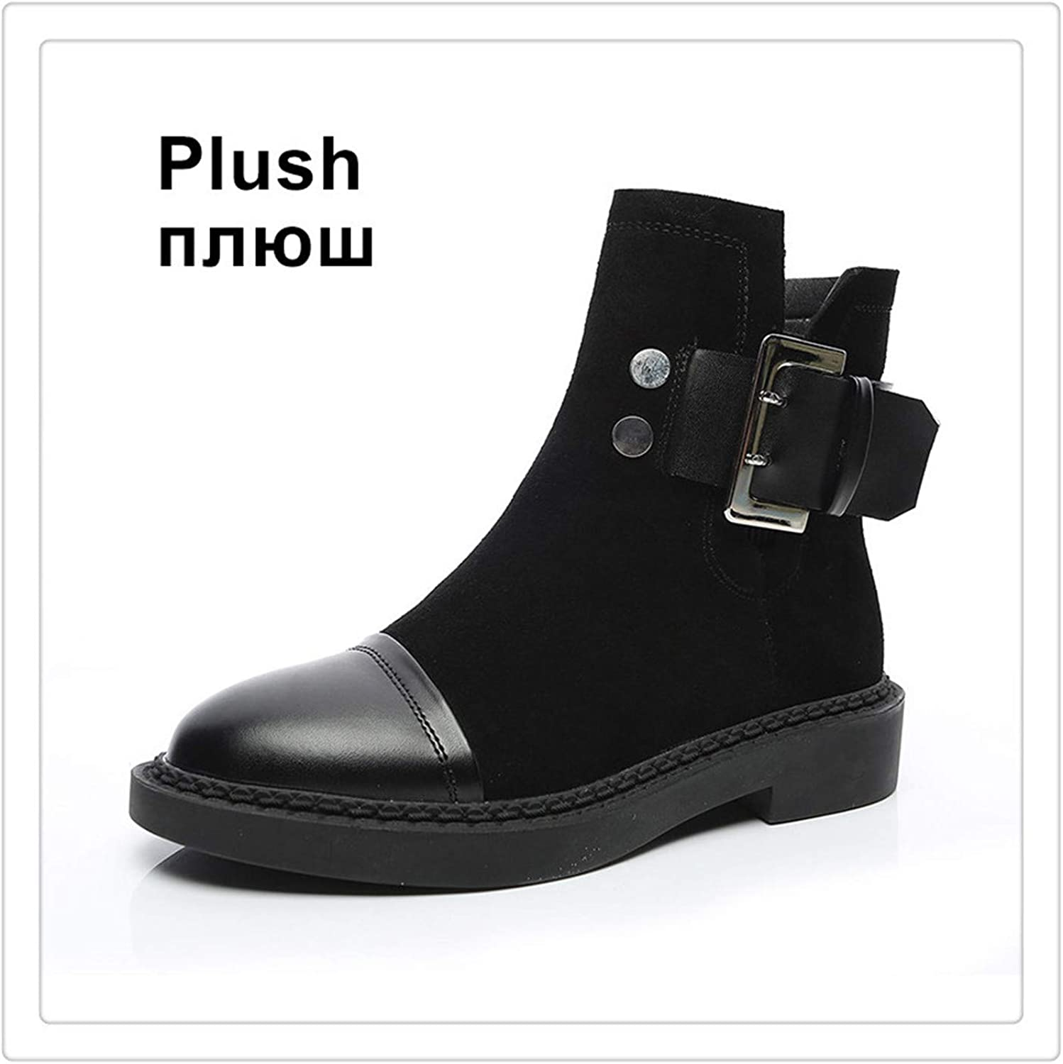 BIONGTY& Women Boots Genuine Leather Winter Ankle shoes Warm Plush Black Boot Female