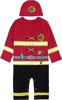 COSLAND Baby Boys' Long Sleeve Fireman Romper Halloween Costume with Hat