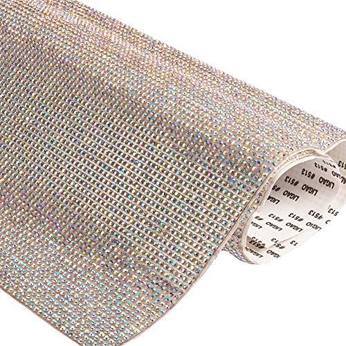 BENECREAT Selbstklebende Kristall AB Strass Verzierungen Aufkleber Blatt 40x24cm (15.74x9.4inch) für DIY Handwerk Stoff Taschen Schuhe Telefon Dekoration
