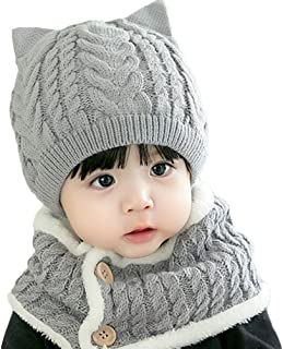 AINORS Cute Baby Winter Cat Hats Scarf Knitted Caps Cozy Toddler Infant Beanie with Circle Loop Neckerchief Suit