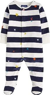 Joules Baby Velour Babygrow - Navy Star Stripe