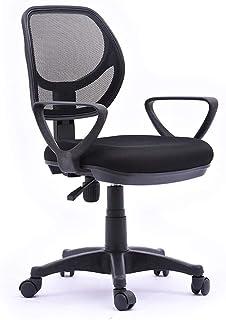 KFDQ Sillas de escritorio, silla ergonómica de oficina Silla de escritorio de oficina con respaldo bajo para computadora con ruedas giratorias - Soporte lumbar negro para silla de oficina