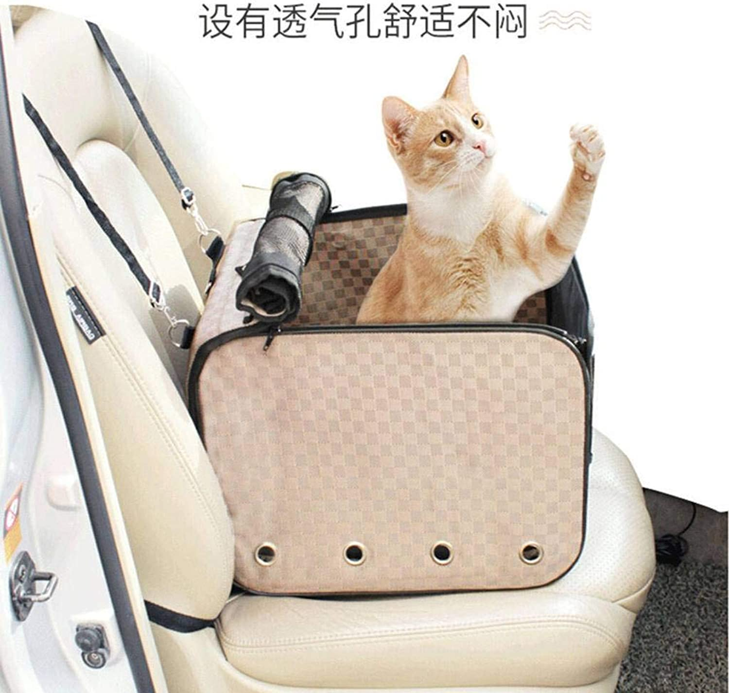 HGG Pet Car Booster Seat Dog Bed,with Dog Seat Belt for Car, Waterproof Travel Dog Carrier Bag for Small Dogs Cats Puppy Beige