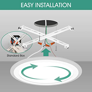 SOODEELUX 15.35inch Flush Mount Ceiling Light Fixture 4000K 36W 3600LM Modern Round Low Profile Surface Mount LED Lamp for Ba