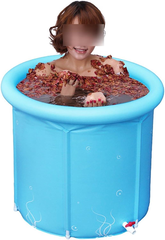 NYJS Folding Bathtub,Portable Bathtub, Large Folding Tub Adult Bath Tub Plastic Bath 80  80cm Inflatable Bathtub (color   bluee, Size   80  80CM)