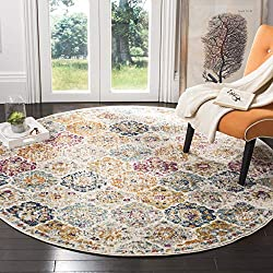 commercial Safavieh Madison Collection MAD611B Bohemian Chic Vintage Distressed Area Rug, 5'Round, Cream / Multi circle kitchen rugs