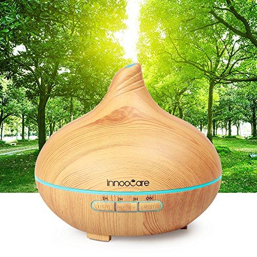Duftspender InnooCare für ätherische Öle, 300ml, leiser Luftbefeuchter/Diffusor, automatische Abschaltung, mit 7wechselnden Farben, 4Zeiteinstellungen, für Spa/Yoga