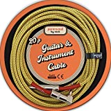 Guitar Cable - 20 ft Instrument Cable for Electric Guitars and Bass Guitars - 1/4 Inch Cable with Right Angle Jack On One End to Secure Your Amp Cord - Braided Vintage Style