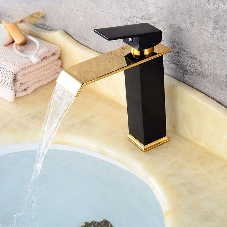 Lddpl Tap golden Black Waterfall Faucet Brass Bathroom Faucet Bathroom Basin Faucet Mixer Tap Hot & Cold Sink Faucet+Drainer