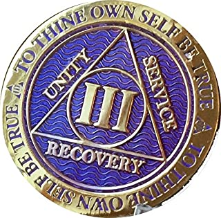 Recoverychip 3 Year AA Medallion Reflex Purple Gold Plated Chip