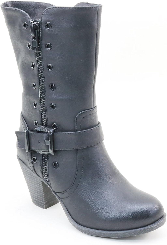 Brieten New Women's Middle Calf Chunky Heel Riding Boots