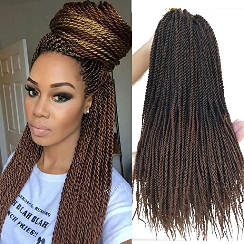 Flyteng 18 inch 8 Packs Senegalese Twist Crochet Braids Hair 30strands/pack High Tempreture Fiber Synthetic Hair Extensions T1B/30…