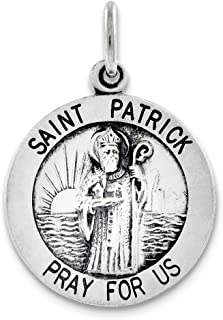 Sterling Silver Antiqued Saint Patrick Medal (0.98 in x 0.79 in)