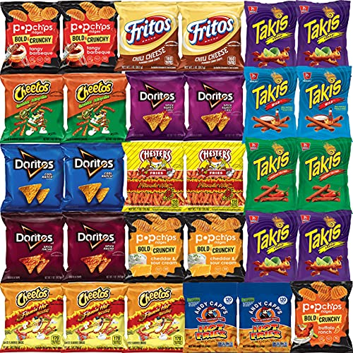 Hot Chips Snacks Variety Pack for Adults - Fiery Spicy Snack Bag Care Package - Bulk Assortment (30 pack)