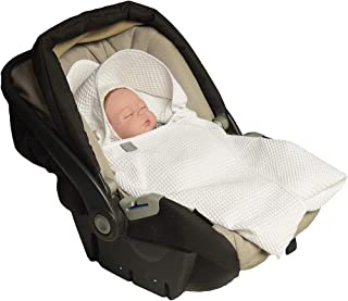 MoMika Classic Swaddling Blanket | Universal Fit for Car Seat | Stroller | Buggy or Baby Bed | Made of Waffle | 100% Cotton | (White)