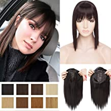 11 Inch Short Bob Clip in Crown Topper with Wispy Thin Air Bangs Synthetic Hair Middle Part Top Toupee Hairpiece for Hair Loss Thinning Hair Jet Black