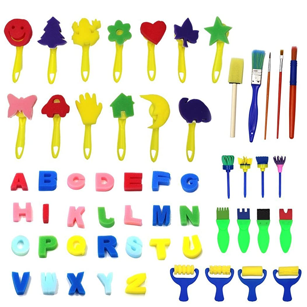 Kids Art & Craft 56 Pieces Sponge Painting Brushes Kids Painting Kits Early DIY Learning include Foam Brushes,Art Craftssponge brush, flower pattern brush, Brush set and 26 English letters
