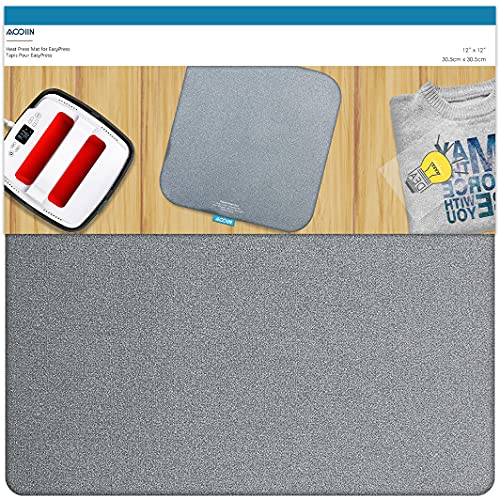 Heat Press Mat Double Sides Used Ironing Insulation Mat for Cricut Easypress, T Shirts and HTV Vinyl Projects (12''x12'')