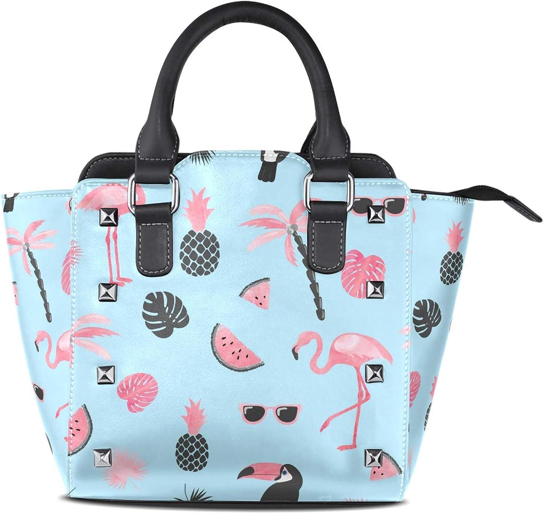 My Little Nest Women's Top Handle Satchel Handbag Watercolor Flamingo Ladies PU Leather Shoulder Bag Crossbody Bag