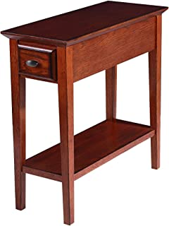 Phoenix Home Tilburg Chair-Side Solid-Wood End Table with Drawer and Bottom Shelf, Cherry Oak