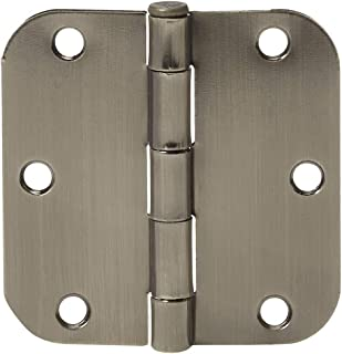 Amazon Basics Rounded 3.5 Inch x 3.5 Inch Door Hinges, 18 Pack, Satin Nickel