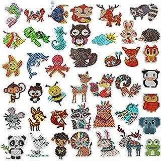 UniquQ 42 stuks 5D diamantstickers kits diamantschilderij voor kinderen, doe-het-zelf diamantschilderij kits dierenschilde...
