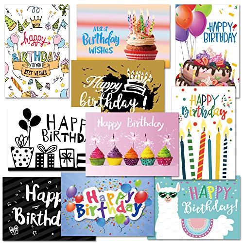 CHRORINE Geburtstagskarten Set für Geburtstage mit Umschlag und Aufklebern im Different Design (10pcs)
