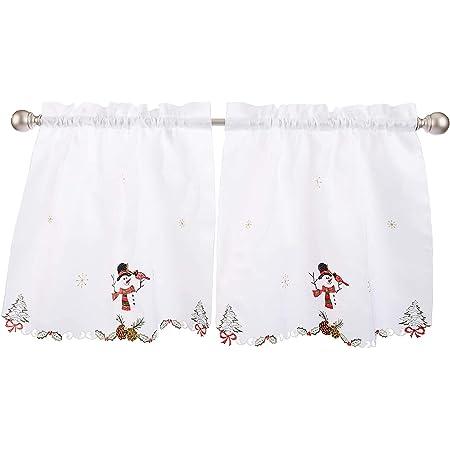 Lorraine Home Fashions 00345-24-00148 Gingham Stitch Window Curtain Tier 50 x 24 Red