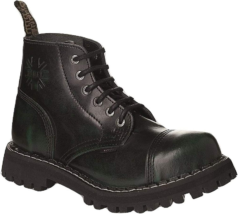 Steel Combat Boots Unisex Men's Ladies Leather Green Dark 6 Eyelets Army Punk Toe Cap