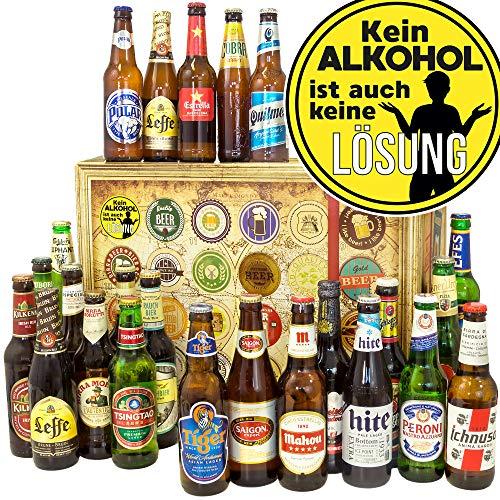 Kein Alkohol - 24 Bier aus aller Welt - Männerabend Geschenk - Adventskalender Bier Männer