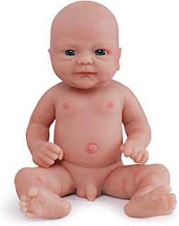 Vollence 14 inch Realistic Reborn Baby Doll,PVC Free,Solid Platinum Liquid Full Body Silicone Real Baby Dolls,Lifelike Soft Handmade Silicone Baby Doll with Clothes -Boy