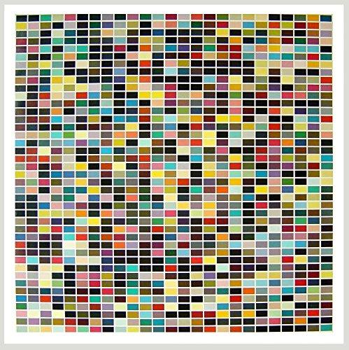 Gerhard Richter 1025 Farben gerahmter Kunstdruck mit Holz Rahmen Ahorn weiss lasiert 120x120cm - Germanposters