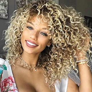 BonJoJo Afro Kinky Curly Wig Blonde Highlights Short Side Part Ombre Synthetic African Fluffy Hair Heat Resistant