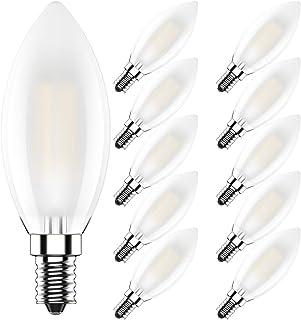 Bombillas Filamento LED E14 Blanco Cálido 2700K,4W Equivalente a 40 W,400 lúmenes,Regulable,CRI>80,AC 220V,Vidrio Mate,Pack de 10