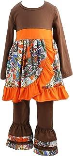 Children Kids 2 Pieces Long Sleeve Ruffle Dress & Pants Outfits