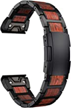 LDFAS Fenix 6 Pro/5 Band, Red Sandalwood Stainless Steel Metal 22mm Quick Release Easy Fit Watch Strap with Double Button Clasp Compatible for Garmin Fenix 5 Plus 6 Pro/Forerunner 935/945 Smartwatch