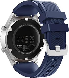 FanTEK Band for Samsung Galaxy Watch 46mm / Gear S3 Frontier/Classic Watch, 22mm Silicone Sport Quick Release Replacement Strap Work for Moto 360 2nd Gen 46mm/ Pebble Time Steel, Midnight Blue