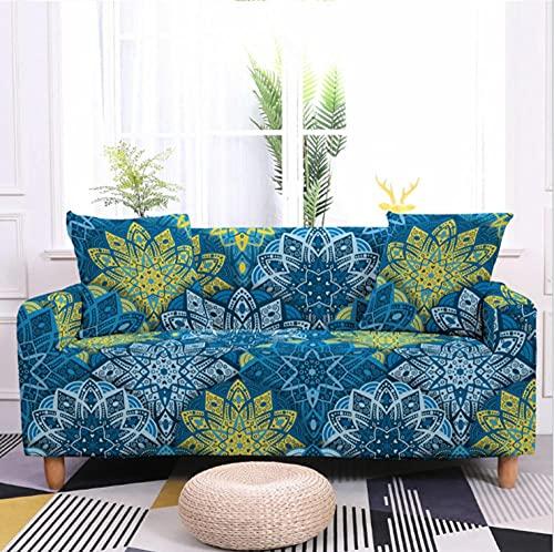 Fundas de Sofá Estampado Patrón Azul 1 Plazas Elasticas Protector de sofá Funda Sofá Antideslizante Funda Elástico Universal Ajustables Protector Cubierta de Muebles