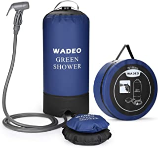 WADEO Camp Shower, Portable Outdoor Camping Shower Bag Pressure Shower with Foot Pump and Shower Nozzle for Beach Swim Travel Hiking Backpacking - 4 Gallon/15L, Blue