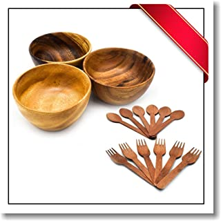 Innovatronix 3 Pieces Handmade 5 Inches Wooden Acacia Salad Bowl - Salad Bowl Set of 3 - FREE 6 Pairs Of Wood Disposable Spoons And Forks   5x3 Inches