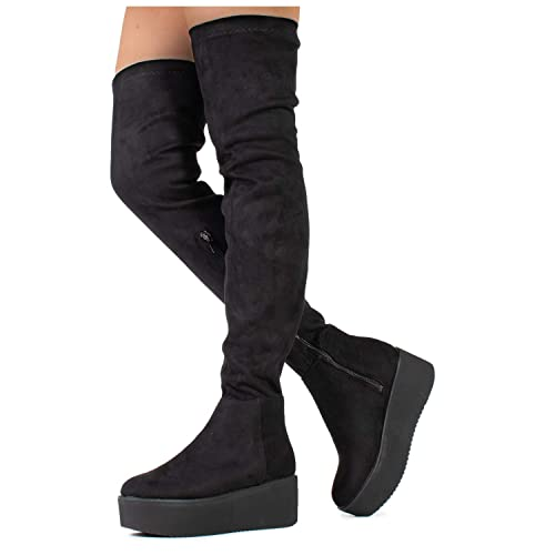 1a14e18afc7 Pinot-23 Women s Narrow Calf Fit High Platform Side Zip Opening Over The Knee  Boots