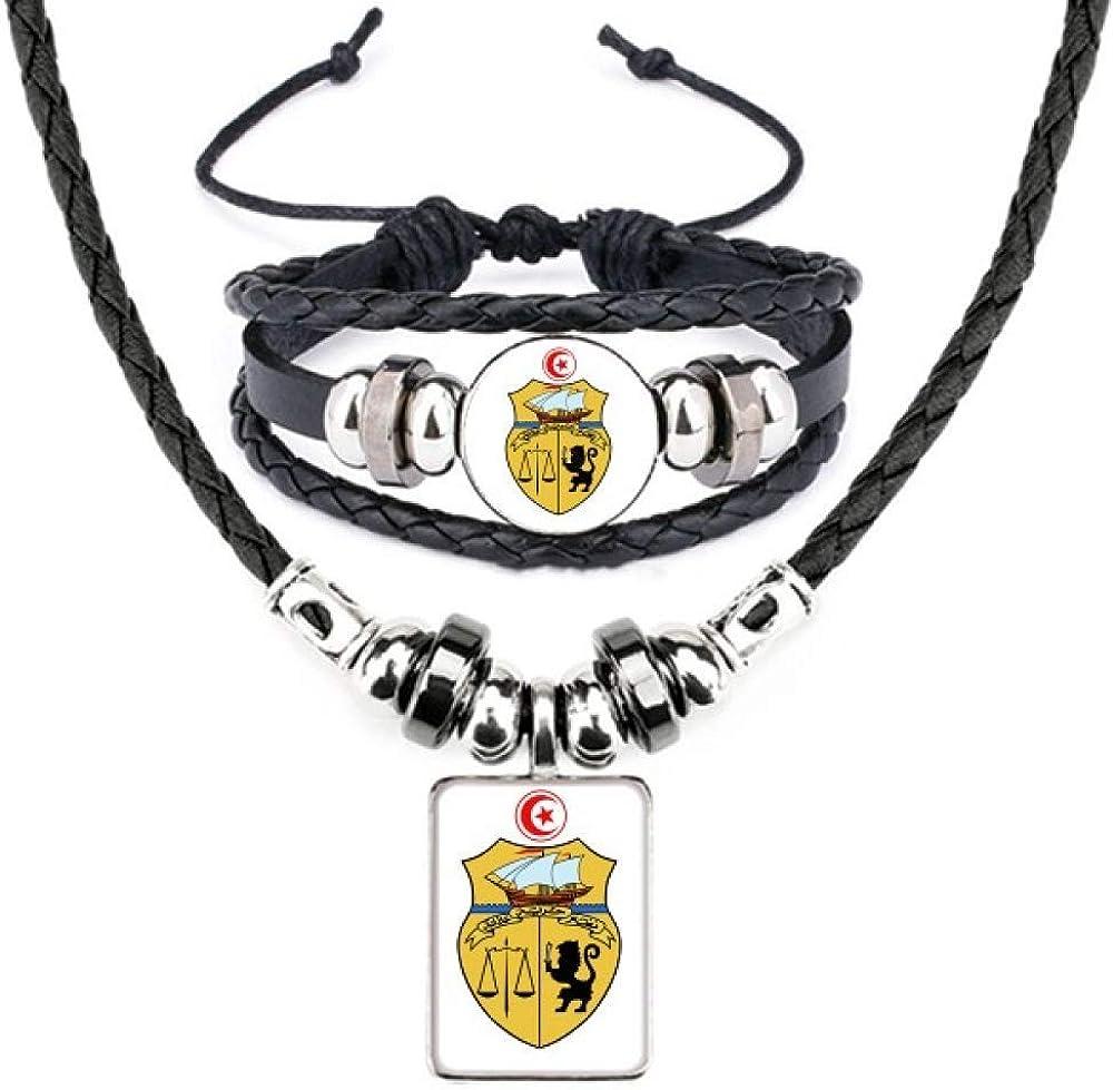 Tunisia Asia National Emblem Leather Necklace Bracelet Jewelry Set