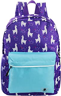 Backpacks for Little Girls, Boys, Kids by Fenrici, 16 Inch Book Bags with Water Bottle Pocket for Preschooler, Kindergartener, Support a Great Cause, Purple Llama