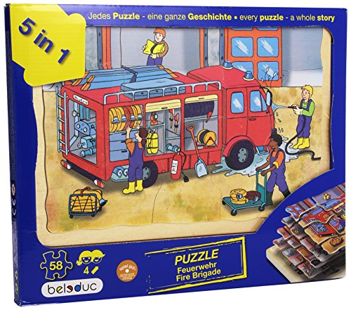 Beleduc - 17035 - Puzzle À Superposition en Bois - Pompiers - 58 Pièces